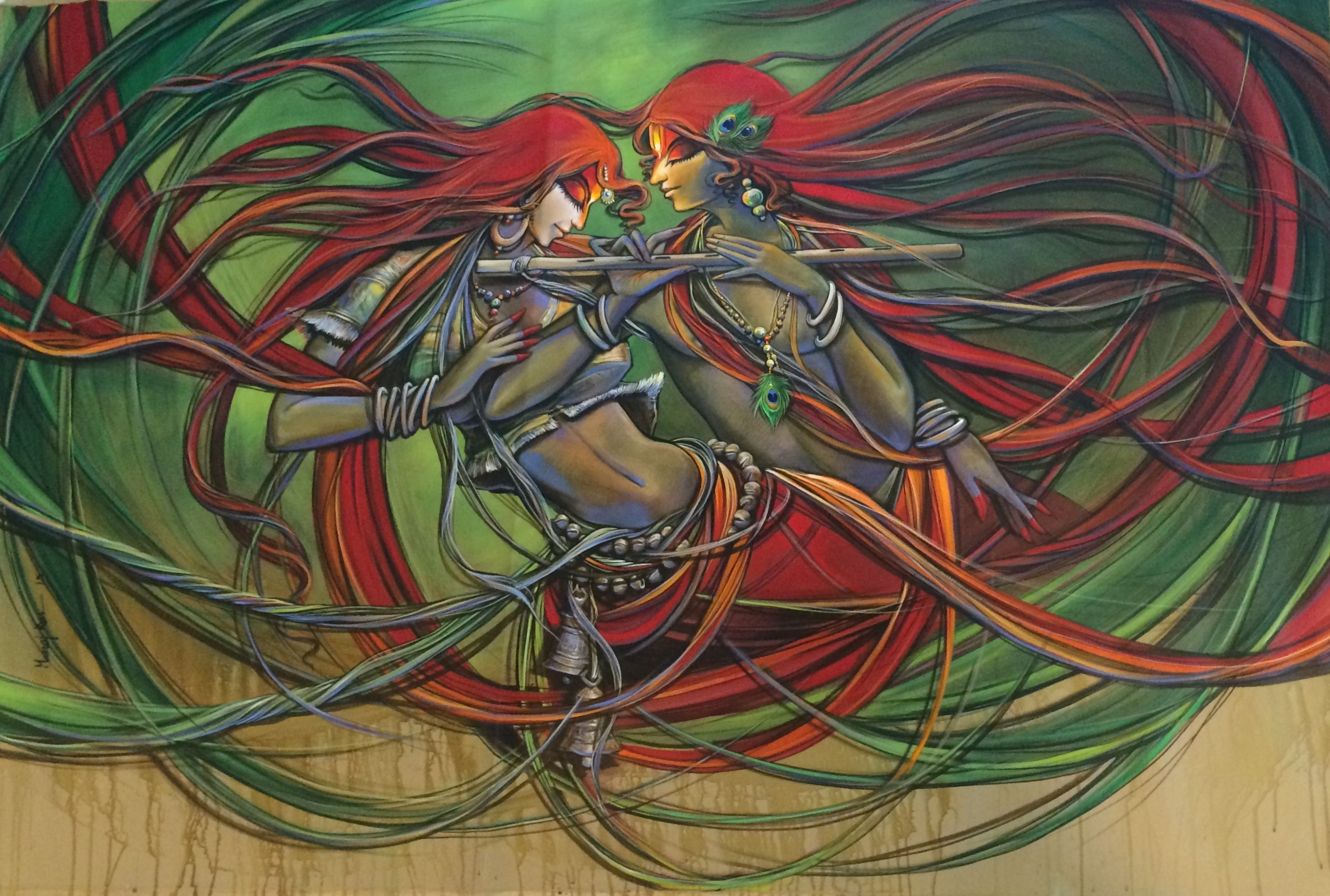 "Abhilasha by artist Manoj Das This artwork exemplify force, rhythm, and energy harmoniously This painting ""Abhilasha"" is an outstanding work by artist Manoj Das."