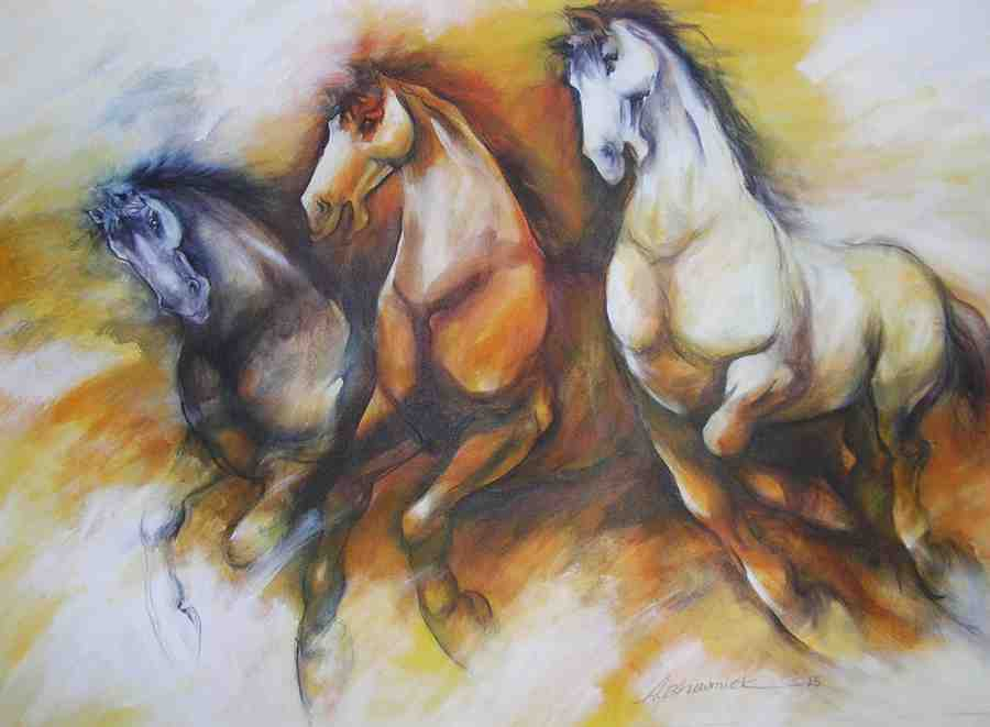 Power of 3 horses by artist Ajoy Bhowmick This painting represent freedom, strength and balance of wisdom  This horse painting is an outstanding work of Ajoy Bhowmick. Ajoy has a very unique style and his works are considered classic yet contemporary. This horses give so much joy, positivity and show strong motivation that carries one through life. In addition to these qualities, it is reared because of its beauty and grace that is why it is considered an important animal totem in many cultures.