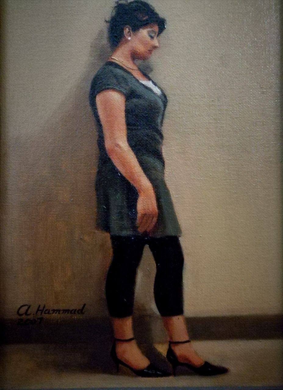 Lady standing by artist Ali Hammad This artwork portray a lady painted like a natural photograph This still life painting  is an outstanding work by artist Ali Hammad. One window is what gives light to the still life, portrait etc. Light is the idea in this paintings, there is one which is the incident and the other that is inventive. So, on the surface it may be a still life or a portrait but in depth it's a skillful intertwining of color, light, form, space, air, etc. the artist use everyday objects with the interplay of light and shade, not only to make beautiful pictures but also to symbolically address the dark and difficult times we are passing through. At such times the glimmering ray of light, a moment of attention is what offers us hope and happiness.