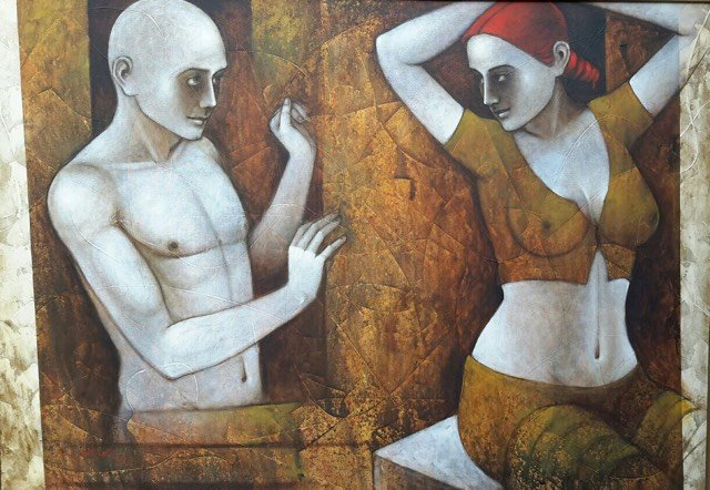 "Couple by artist Asit Kumar Patnaik This artwork depicts the relationship of a couple This painting ""couple"" is one of the outstanding artwork of artist Asit Kumar Patnaik. The artwork revolves around partly clad male and women figure engrossed in their emotions and captured in a series of complex, multiple and open ended postures. Human psyche and interpersonal relationships of people in society, is the underlying theme that engages the artists interest."