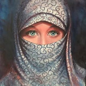 "This artwork illustrate a woman in modest attire wearing hijab This painting ""Blameless Blue"" is an outstanding work by artist Aldrie Acosta. The woman in blue eyed beauty wearing hijab in this painting is basically hyper-realistic in approach. This style of work deals towards impressionism which focuses on the total values and drama it brings to the viewers."