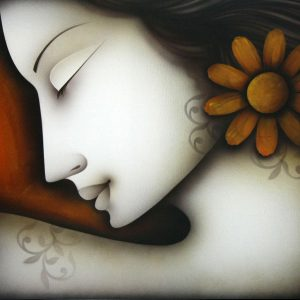 Blossom by artist Pradeesh Raman This artwork depicts a woman face that embody peace, love and understanding