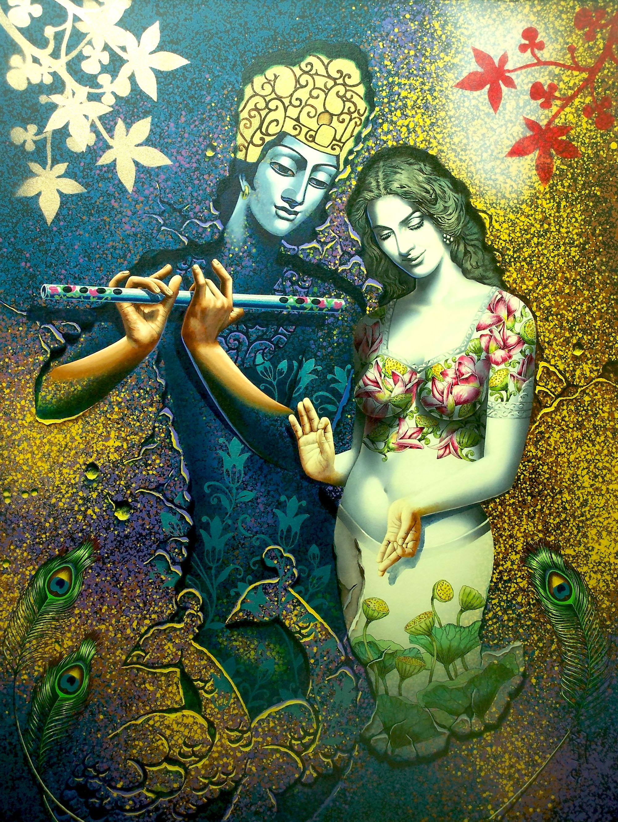 The Immortal love by artist Prashanta Nayak This artwork portray mythology and religious stories that conveys a pure feeling of love