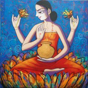 Woman by artist Pravin Arun Utge This artwork portray dreamy woman figures in poetic surroundings.