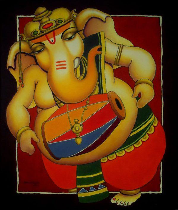 Ganesha by artist Surendra Pal Singh Bhogal This artwork portrays Ganesha playing musical instrument