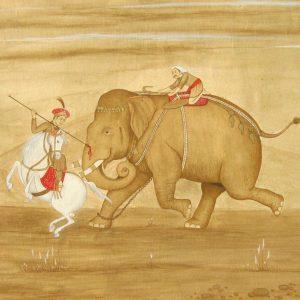 Mughal Prince on Elephant by miniature artist Syed Irfan